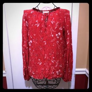 Universal Thread Red Floral Blouse Small NWT